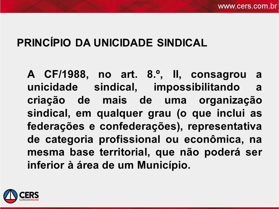 PRINCÍPIO DA UNICIDADE SINDICAL A CF/1988, no art. 8.º, II, consagrou a unicidade sindical, impossibilitando a criação de mais de uma organização sind