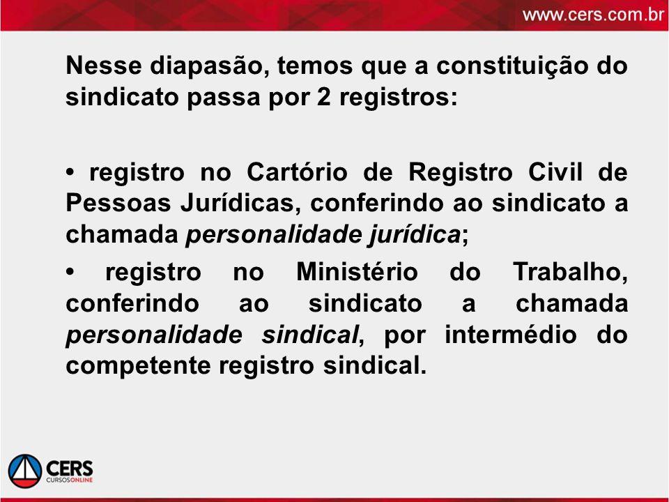 Nesse diapasão, temos que a constituição do sindicato passa por 2 registros: registro no Cartório de Registro Civil de Pessoas Jurídicas, conferindo a