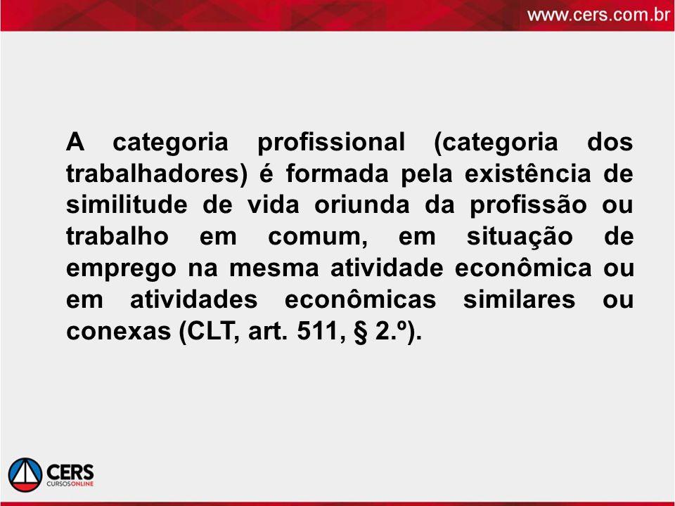 A categoria profissional (categoria dos trabalhadores) é formada pela existência de similitude de vida oriunda da profissão ou trabalho em comum, em s