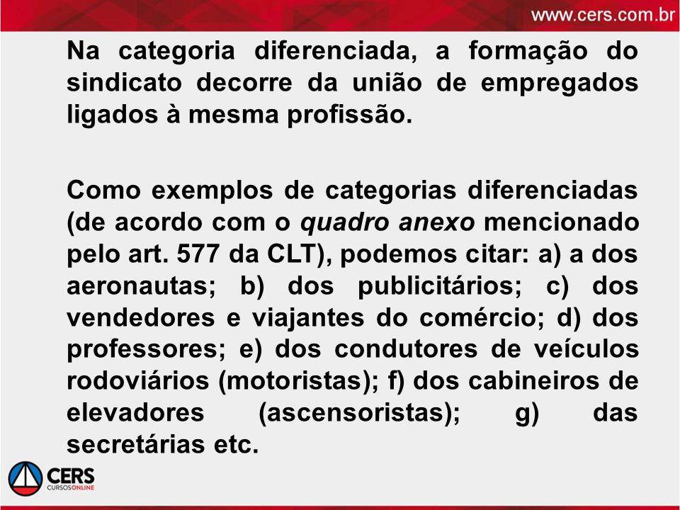 Na categoria diferenciada, a formação do sindicato decorre da união de empregados ligados à mesma profissão. Como exemplos de categorias diferenciadas