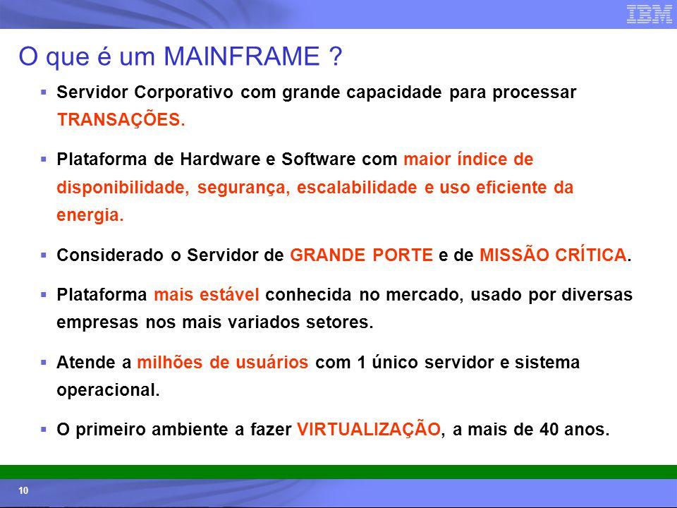 © 2006 IBM Corporation IBM Systems & Technology Group 10 O que é um MAINFRAME ? Servidor Corporativo com grande capacidade para processar TRANSAÇÕES.