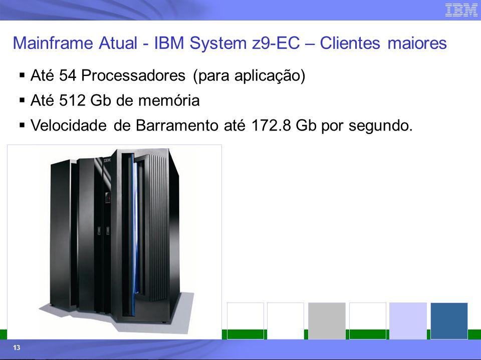 © 2006 IBM Corporation IBM Systems & Technology Group 13 Mainframe Atual - IBM System z9-EC – Clientes maiores Até 54 Processadores (para aplicação) A