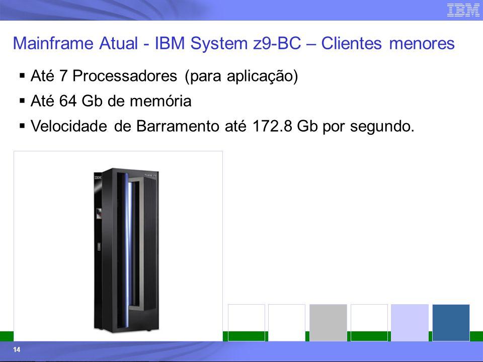 © 2006 IBM Corporation IBM Systems & Technology Group 14 Mainframe Atual - IBM System z9-BC – Clientes menores Até 7 Processadores (para aplicação) At