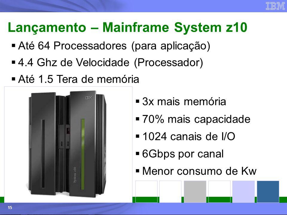 © 2006 IBM Corporation IBM Systems & Technology Group 15 Lançamento – Mainframe System z10 Até 64 Processadores (para aplicação) 4.4 Ghz de Velocidade