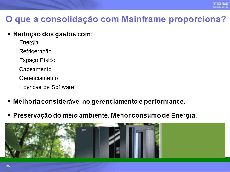 © 2006 IBM Corporation IBM Systems & Technology Group 26 O que a consolidação com Mainframe proporciona? Redução dos gastos com: Energia Refrigeração