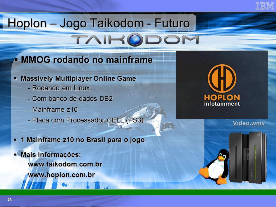 © 2006 IBM Corporation IBM Systems & Technology Group 28 Hoplon – Jogo Taikodom - Futuro MMOG rodando no mainframe MMOG rodando no mainframe Massively
