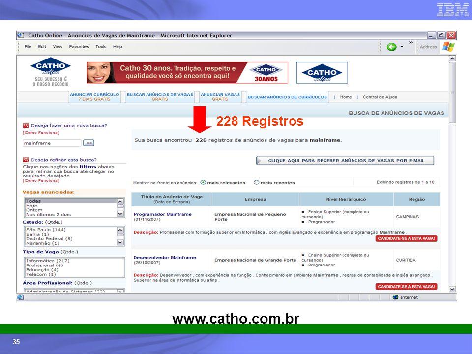 Ecossistemas (Universidades e ISVs) - © 2005 IBM Corporation 35 228 Registros www.catho.com.br