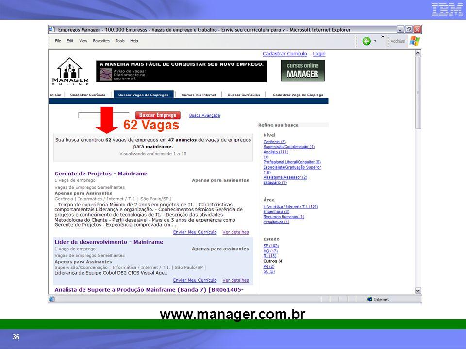 Ecossistemas (Universidades e ISVs) - © 2005 IBM Corporation 36 62 Vagas www.manager.com.br