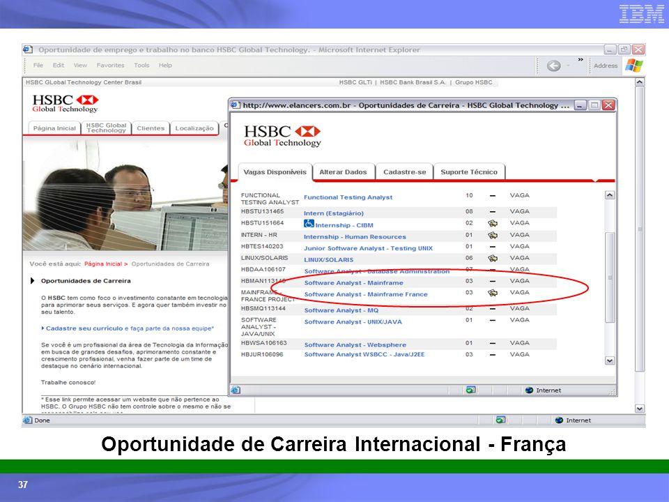 Ecossistemas (Universidades e ISVs) - © 2005 IBM Corporation 37 Oportunidade de Carreira Internacional - França