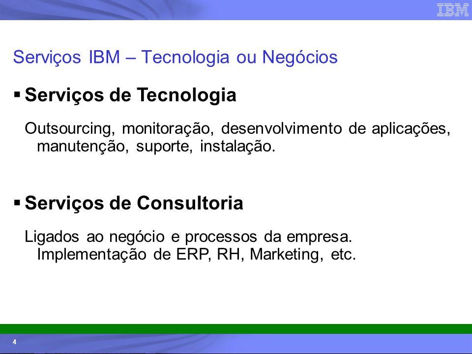 © 2006 IBM Corporation IBM Systems & Technology Group 4 Serviços IBM – Tecnologia ou Negócios Serviços de Tecnologia Outsourcing, monitoração, desenvo