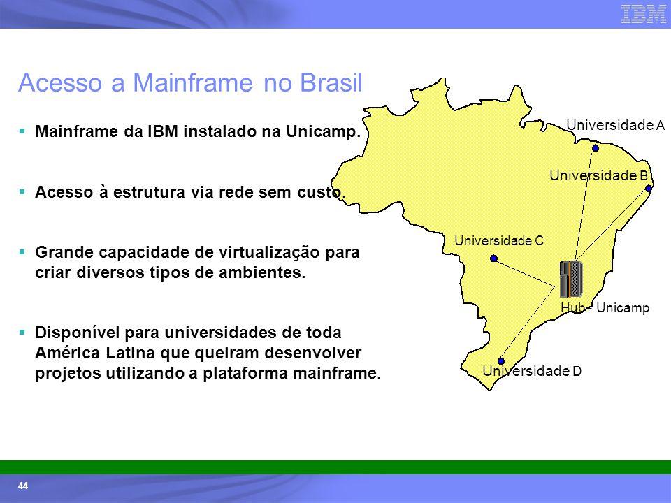 Ecossistemas (Universidades e ISVs) - © 2005 IBM Corporation 44 Acesso a Mainframe no Brasil Mainframe da IBM instalado na Unicamp. Acesso à estrutura