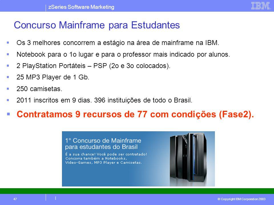 zSeries Software Marketing © Copyright IBM Corporation 2003 | 47 Concurso Mainframe para Estudantes Os 3 melhores concorrem a estágio na área de mainf