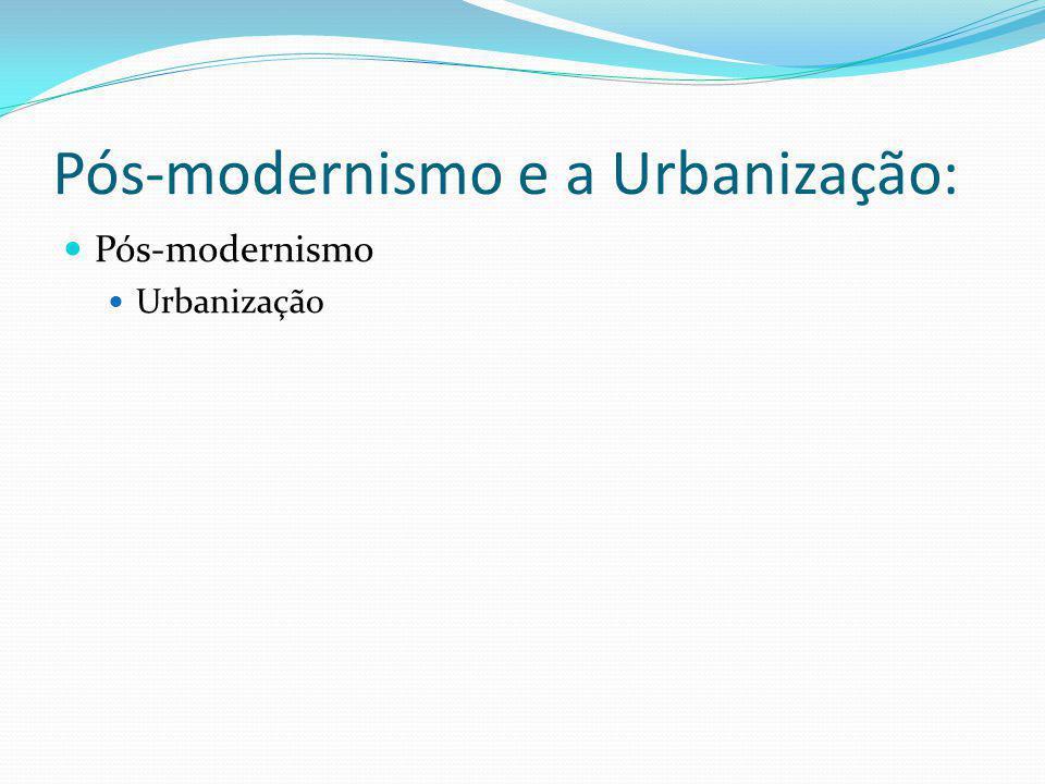 Pós-modernismo e a Urbanização: Pós-modernismo Urbanização