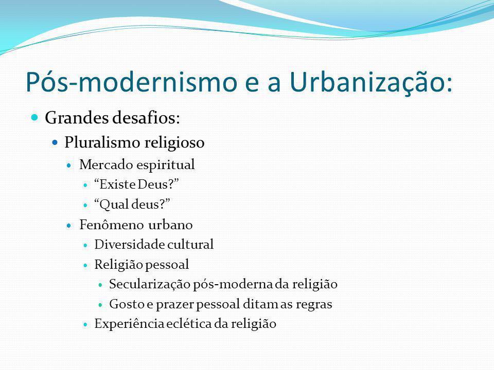 Pós-modernismo e a Urbanização: Grandes desafios: Pluralismo religioso Mercado espiritual Existe Deus? Qual deus? Fenômeno urbano Diversidade cultural