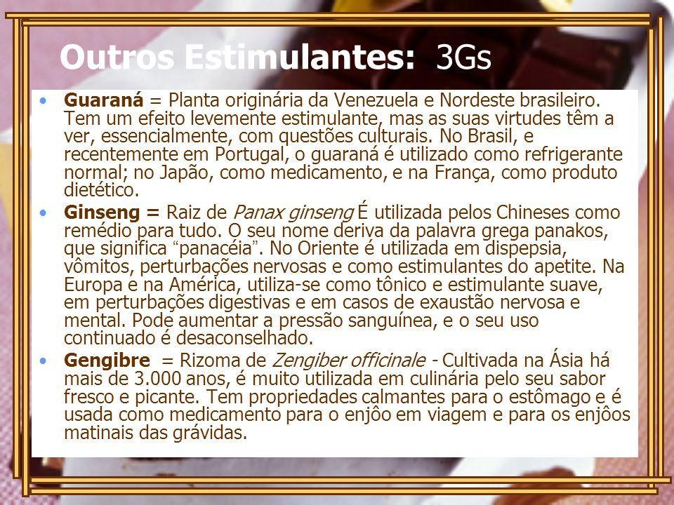 Outros Estimulantes: 3Gs Guaraná = Planta originária da Venezuela e Nordeste brasileiro. Tem um efeito levemente estimulante, mas as suas virtudes têm
