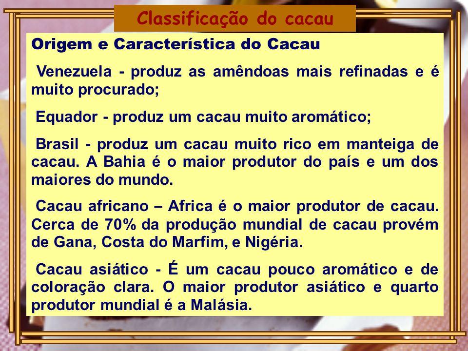 Origem e Característica do Cacau Venezuela - produz as amêndoas mais refinadas e é muito procurado; Equador - produz um cacau muito aromático; Brasil - produz um cacau muito rico em manteiga de cacau.
