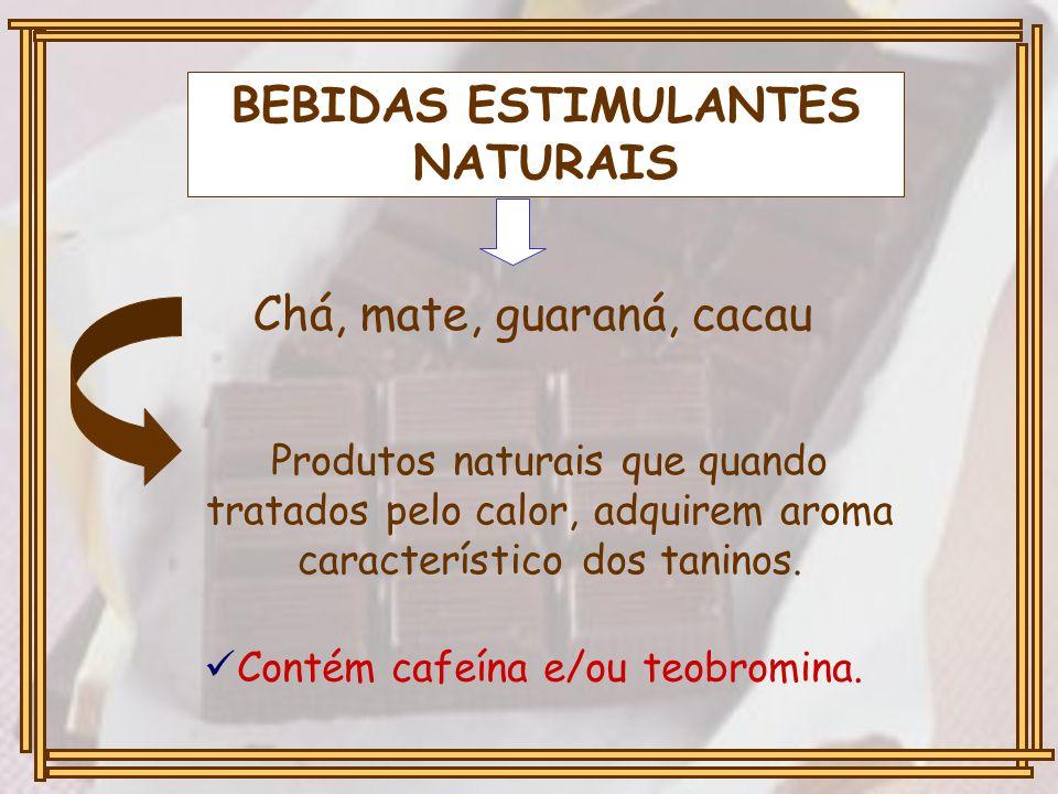 BEBIDAS ESTIMULANTES NATURAIS Chá, mate, guaraná, cacau Produtos naturais que quando tratados pelo calor, adquirem aroma característico dos taninos. C
