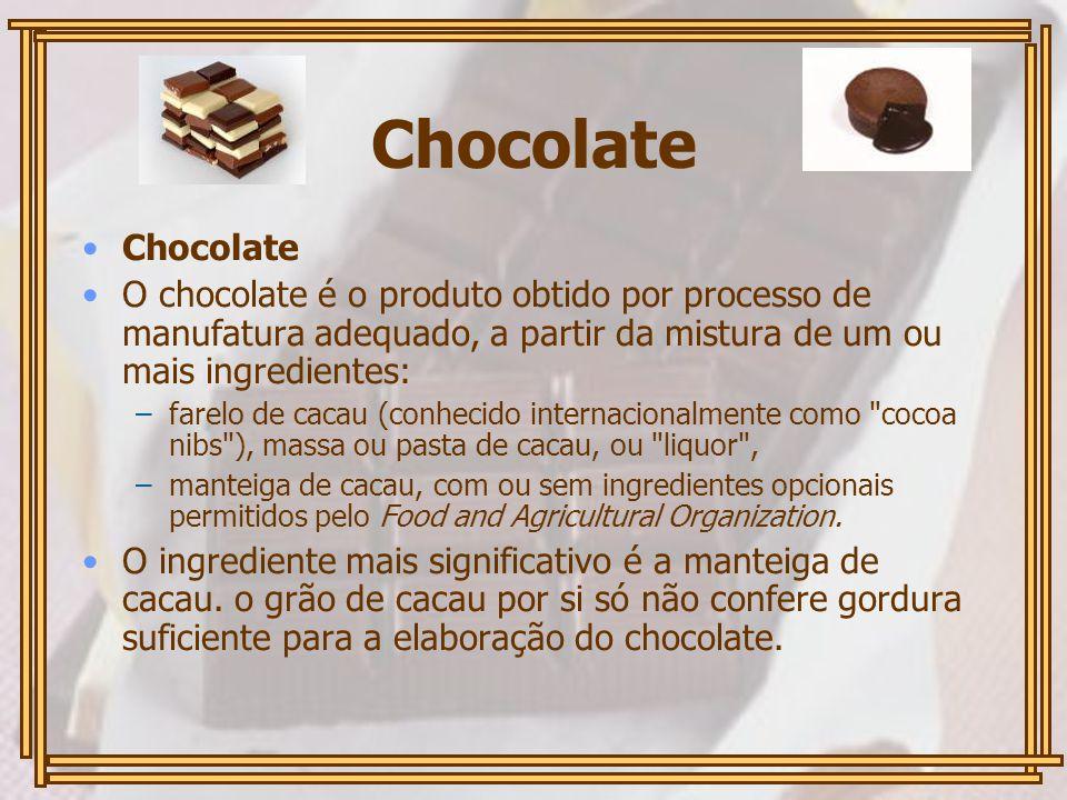 Chocolate O chocolate é o produto obtido por processo de manufatura adequado, a partir da mistura de um ou mais ingredientes: –farelo de cacau (conhecido internacionalmente como cocoa nibs ), massa ou pasta de cacau, ou liquor , –manteiga de cacau, com ou sem ingredientes opcionais permitidos pelo Food and Agricultural Organization.