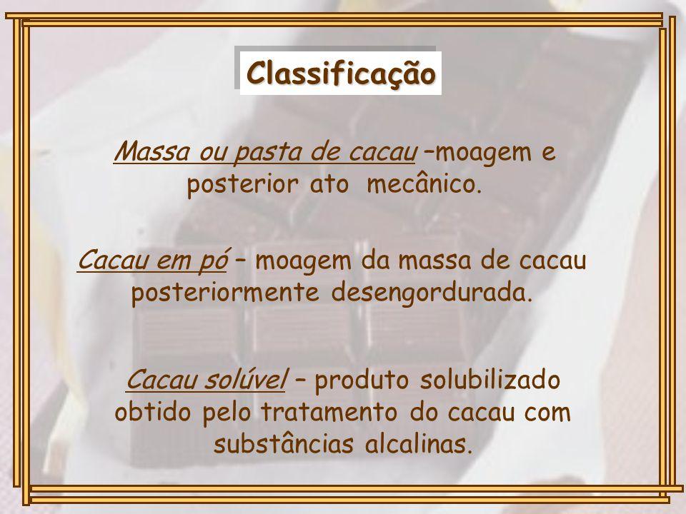ClassificaçãoClassificação Massa ou pasta de cacau –moagem e posterior ato mecânico. Cacau em pó – moagem da massa de cacau posteriormente desengordur