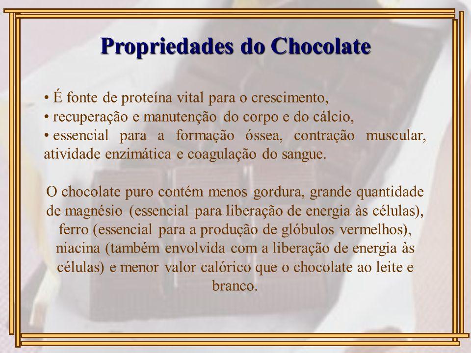 Propriedades do Chocolate É fonte de proteína vital para o crescimento, recuperação e manutenção do corpo e do cálcio, essencial para a formação óssea, contração muscular, atividade enzimática e coagulação do sangue.