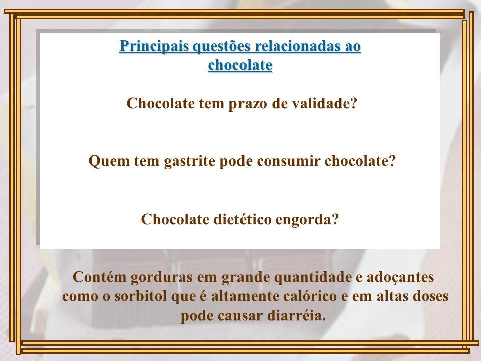 Principais questões relacionadas ao chocolate Principais questões relacionadas ao chocolate Chocolate tem prazo de validade? Quem tem gastrite pode co