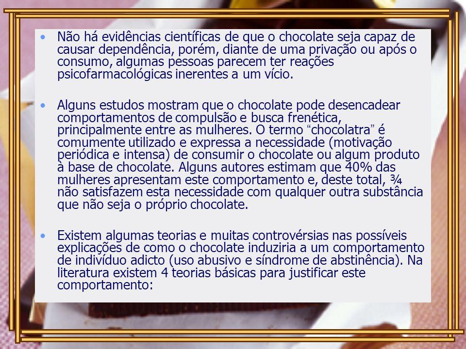 Não há evidências científicas de que o chocolate seja capaz de causar dependência, porém, diante de uma privação ou após o consumo, algumas pessoas pa