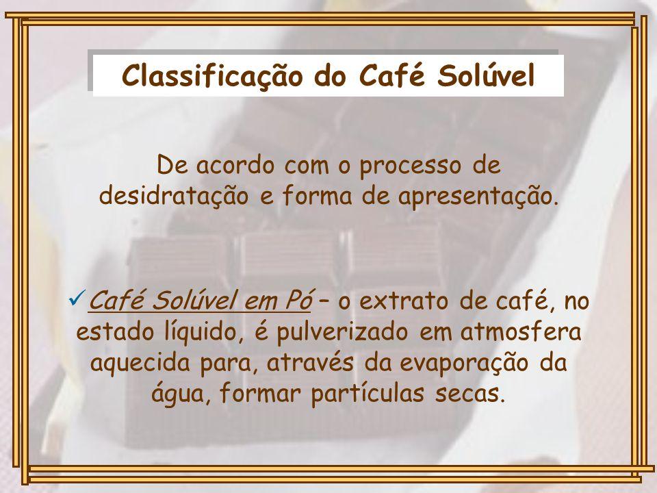 Classificação do Café Solúvel De acordo com o processo de desidratação e forma de apresentação. Café Solúvel em Pó – o extrato de café, no estado líqu