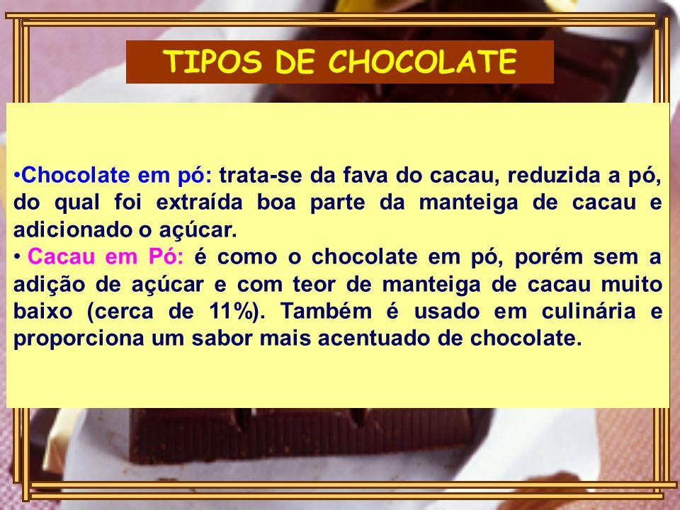 TIPOS DE CHOCOLATE Chocolate em pó: trata-se da fava do cacau, reduzida a pó, do qual foi extraída boa parte da manteiga de cacau e adicionado o açúcar.