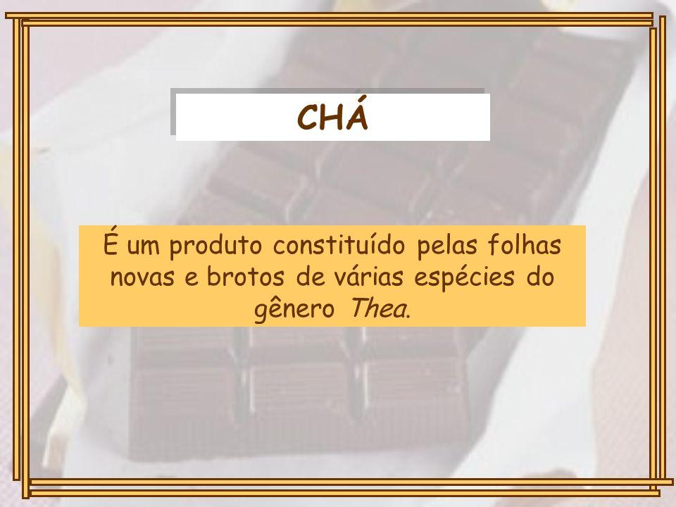 CHÁ É um produto constituído pelas folhas novas e brotos de várias espécies do gênero Thea.