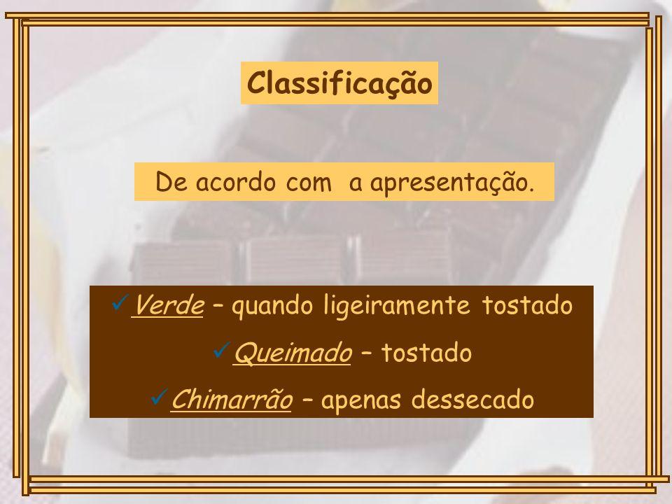 Classificação De acordo com a apresentação. Verde – quando ligeiramente tostado Queimado – tostado Chimarrão – apenas dessecado