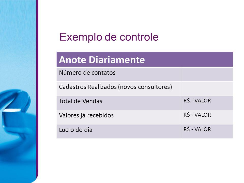 Exemplo de controle Anote Diariamente Número de contatos Cadastros Realizados (novos consultores) Total de Vendas R$ - VALOR Valores já recebidos R$ - VALOR Lucro do dia R$ - VALOR