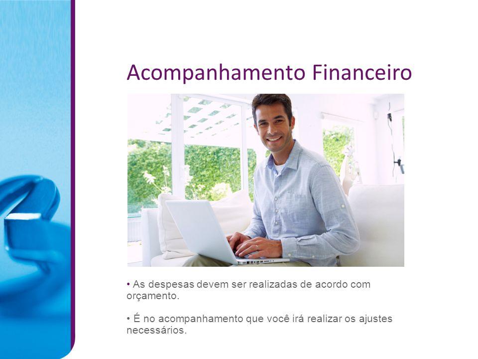 Acompanhamento Financeiro As despesas devem ser realizadas de acordo com orçamento.