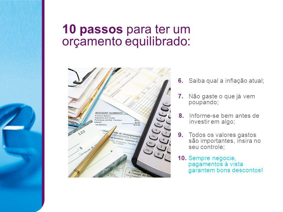 10 passos para ter um orçamento equilibrado: 6.Saiba qual a inflação atual; 7.Não gaste o que já vem poupando; 8.Informe-se bem antes de investir em a