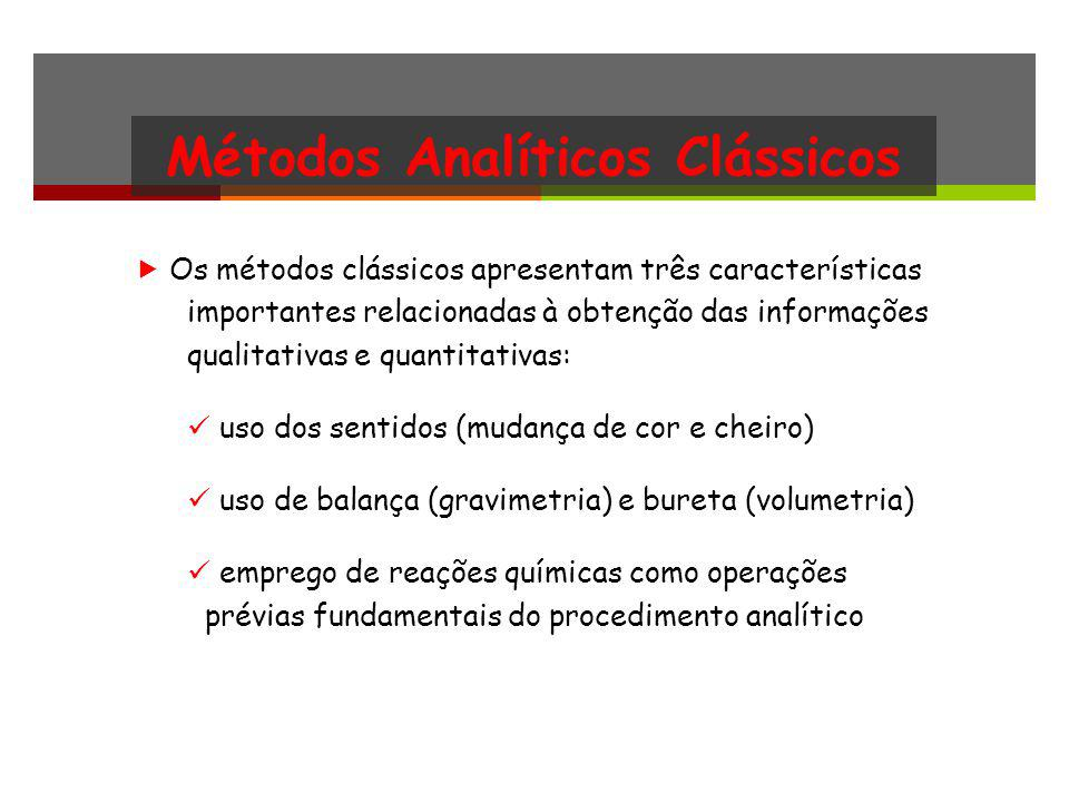 Métodos Analíticos Clássicos Os métodos clássicos apresentam três características importantes relacionadas à obtenção das informações qualitativas e q