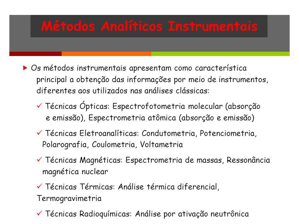 Métodos Analíticos Instrumentais Os métodos instrumentais apresentam como característica principal a obtenção das informações por meio de instrumentos