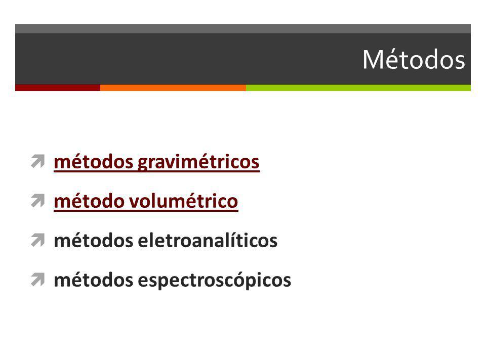 Métodos métodos gravimétricos método volumétrico métodos eletroanalíticos métodos espectroscópicos