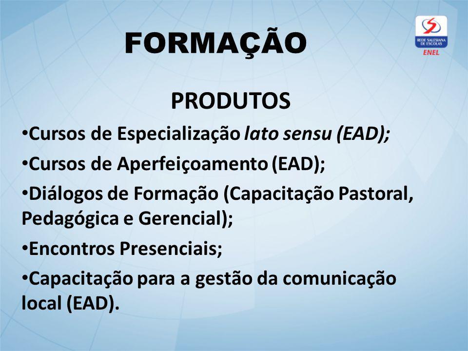 FORMAÇÃO PRODUTOS Cursos de Especialização lato sensu (EAD); Cursos de Aperfeiçoamento (EAD); Diálogos de Formação (Capacitação Pastoral, Pedagógica e Gerencial); Encontros Presenciais; Capacitação para a gestão da comunicação local (EAD).