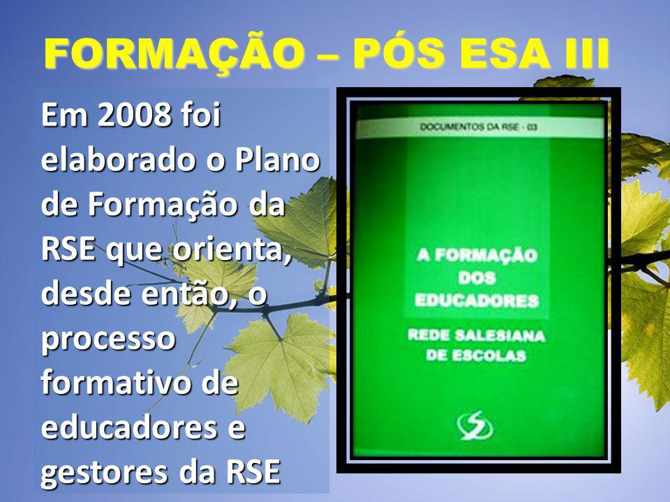 FORMAÇÃO – PÓS ESA III Em 2008 foi elaborado o Plano de Formação da RSE que orienta, desde então, o processo formativo de educadores e gestores da RSE