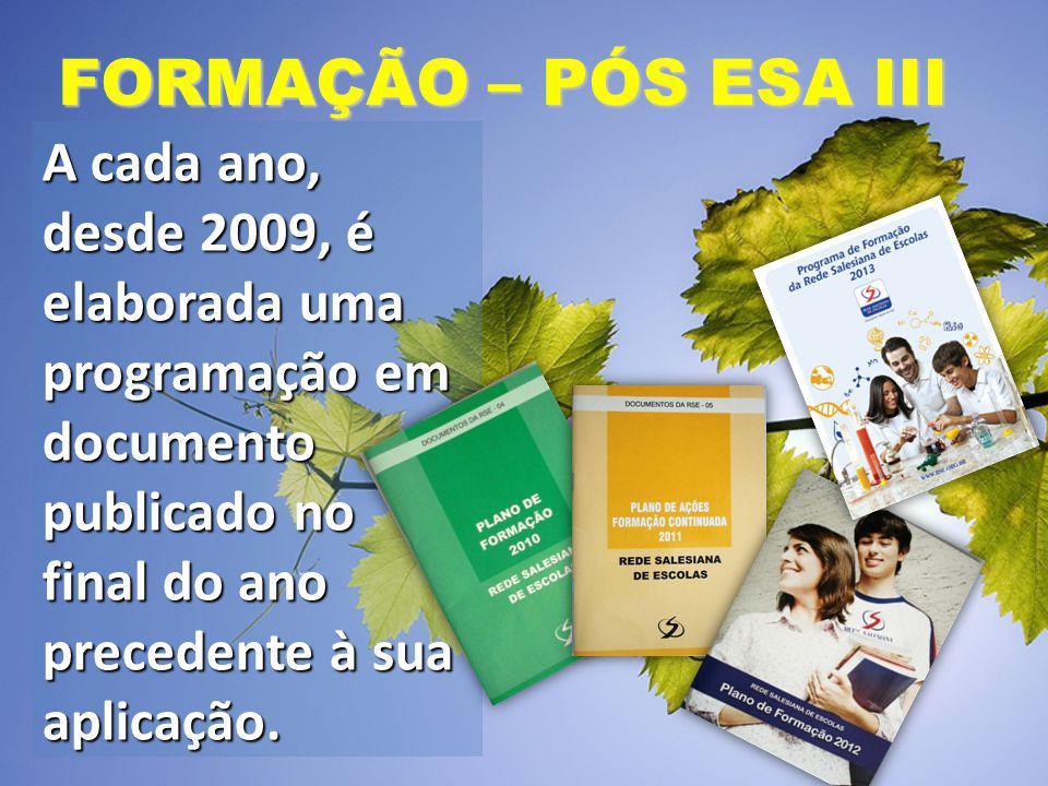 FORMAÇÃO – PÓS ESA III A cada ano, desde 2009, é elaborada uma programação em documento publicado no final do ano precedente à sua aplicação.