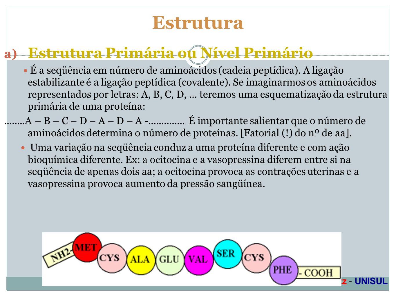 Profa. Denise Esteves Moritz - UNISUL Estrutura a) Estrutura Primária ou Nível Primário É a seqüência em número de aminoácidos (cadeia peptídica). A l