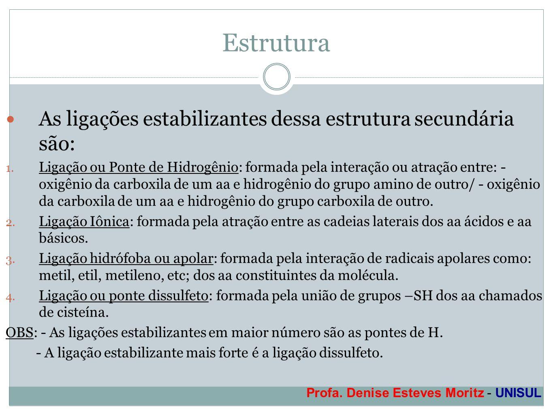 Profa. Denise Esteves Moritz - UNISUL Estrutura As ligações estabilizantes dessa estrutura secundária são: 1. Ligação ou Ponte de Hidrogênio: formada