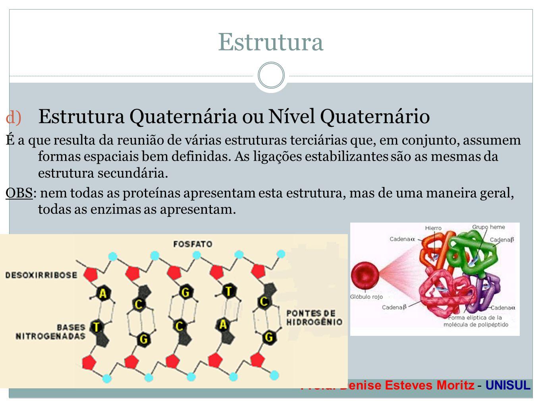 Profa. Denise Esteves Moritz - UNISUL Estrutura d) Estrutura Quaternária ou Nível Quaternário É a que resulta da reunião de várias estruturas terciári