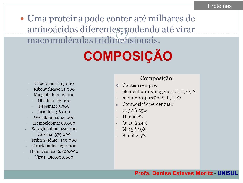 Profa. Denise Esteves Moritz - UNISUL 2 Uma proteína pode conter até milhares de aminoácidos diferentes, podendo até virar macromoléculas tridimension