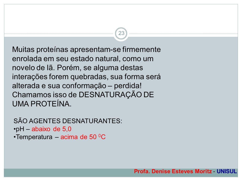 Profa. Denise Esteves Moritz - UNISUL 23 Muitas proteínas apresentam-se firmemente enrolada em seu estado natural, como um novelo de lã. Porém, se alg
