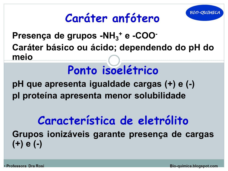 BIO-QUIMICA Professora Dra Rosi Bio-quimica.blogspot.com Caráter anfótero Presença de grupos -NH 3 + e -COO - Caráter básico ou ácido; dependendo do pH do meio Ponto isoelétrico pH que apresenta igualdade cargas (+) e (-) pl proteína apresenta menor solubilidade Característica de eletrólito Grupos ionizáveis garante presença de cargas (+) e (-)