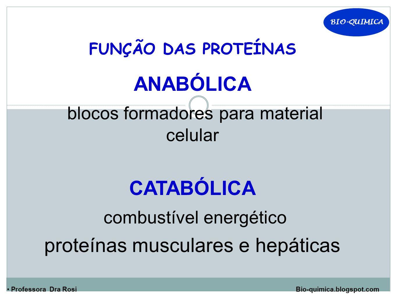 BIO-QUIMICA Professora Dra Rosi Bio-quimica.blogspot.com FUNÇÃO DAS PROTEÍNAS ANABÓLICA blocos formadores para material celular CATABÓLICA combustível energético proteínas musculares e hepáticas