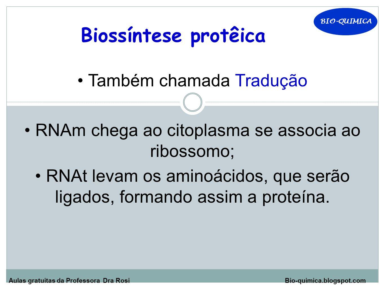 Aulas gratuitas da Professora Dra Rosi Bio-quimica.blogspot.com Biossíntese protêica Também chamada Tradução RNAm chega ao citoplasma se associa ao ribossomo; RNAt levam os aminoácidos, que serão ligados, formando assim a proteína.
