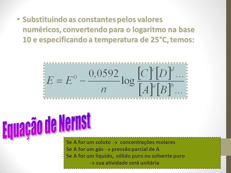 Substituindo as constantes pelos valores numéricos, convertendo para o logaritmo na base 10 e especificando a temperatura de 25°C, temos: Substituindo as constantes pelos valores numéricos, convertendo para o logaritmo na base 10 e especificando a temperatura de 25°C, temos: Se A for um soluto concentrações molares Se A for um gás pressão parcial de A Se A for um liquido, sólido puro ou solvente puro sua atividade será unitária