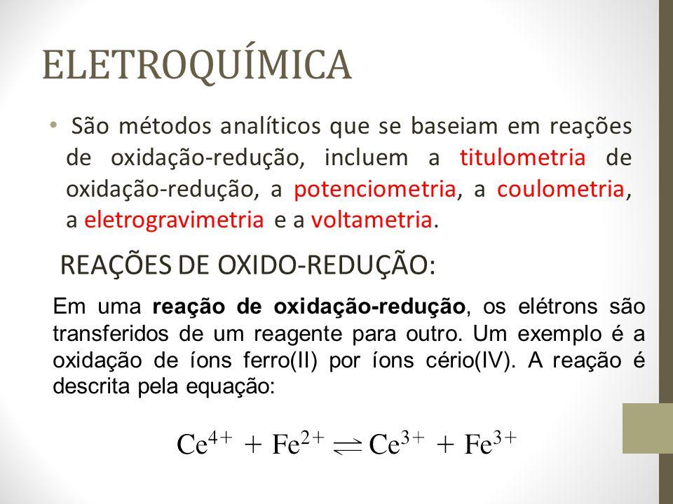 ELETROQUÍMICA São métodos analíticos que se baseiam em reações de oxidação-redução, incluem a titulometria de oxidação-redução, a potenciometria, a coulometria, a eletrogravimetria e a voltametria.