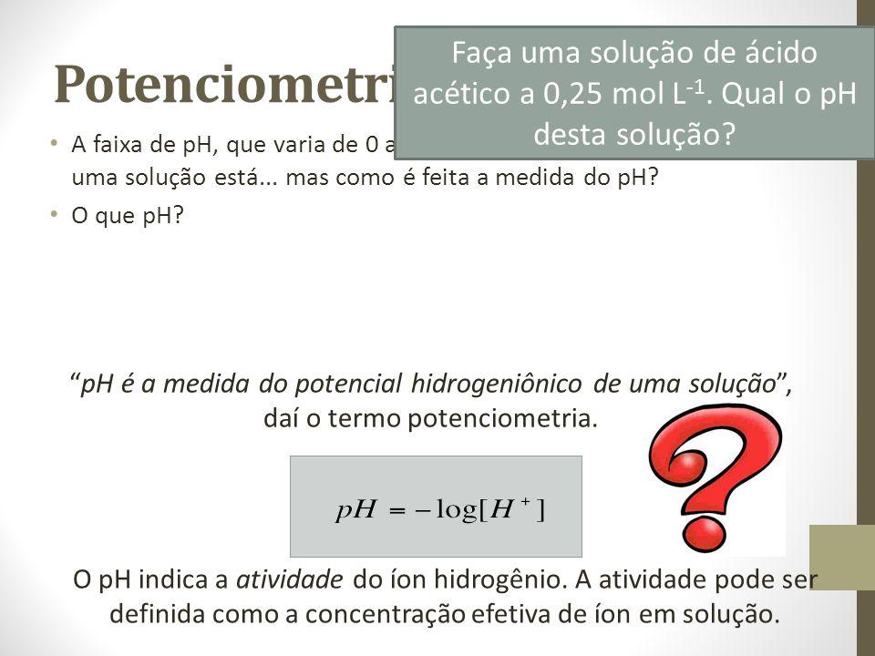 Potenciometria A faixa de pH, que varia de 0 a 14, nos indica o quão ácido ou básico uma solução está...